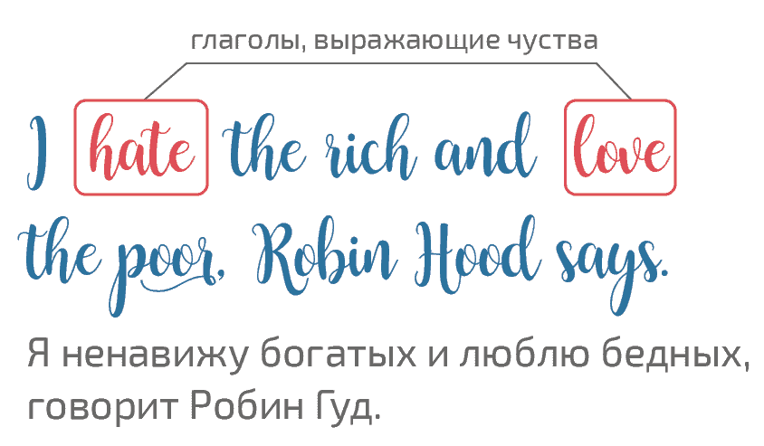 пример present simple I hate the rich and love the poor, Robin Hood says